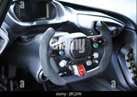 London, UK. 09th June, 2017. The steering wheel of a 2016 Aston Martin Vulcan sports car, on display at the inaugural - Stock Photo