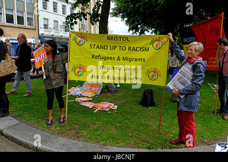 Bristol, UK. 10th June, 2017. In the wake of the general election, demonstrators gather on College Green in the - Stock Photo