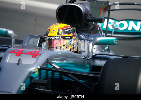 Montreal, Canada. 10th June, 2017. Formula One driver Lewis Hamilton during a qualifing lap at the Montreal Grand - Stock Photo