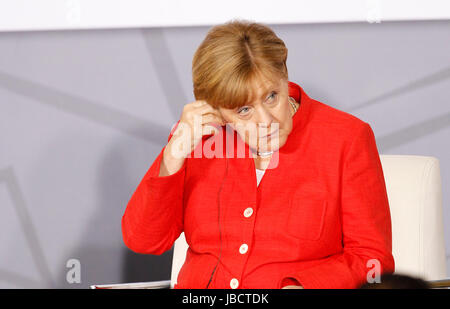 German Chancellor Angela Merkel takes part in a meeting with business people from Mexico and Germany in Mexico City, - Stock Photo