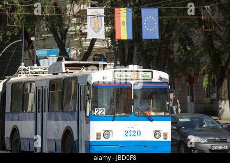 01.09.2016, Moldova, Chisinau, Chisinau - Trolleybus and flag of the Republic of Moldova, the EU flag as well as - Stock Photo
