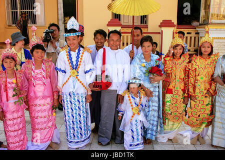 Local People In Traditional Costumes Taking Part Wedding Ceremony At Mahamuni Pagoda Mandalay