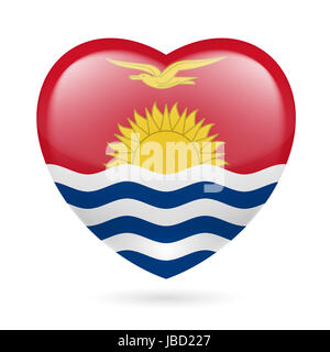 I love Kiribati. Heart with flag design - Stock Photo