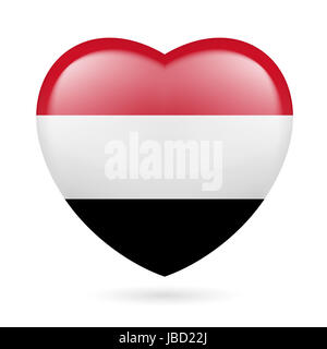 Heart with Yemeni flag colors. I love Yemen - Stock Photo