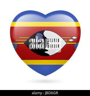 I love Swaziland. Heart with flag colors - Stock Photo