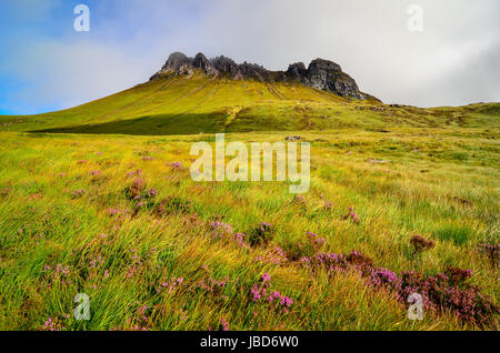 Scenic view of Inverpolly mountain peak Stack Pollaidh in Scotland, United Kingdom - Stock Photo