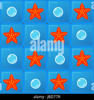 bubbles and starfish on blue background tiles - Stock Photo