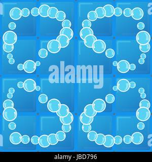 soap bubbles on blue background tiles - Stock Photo