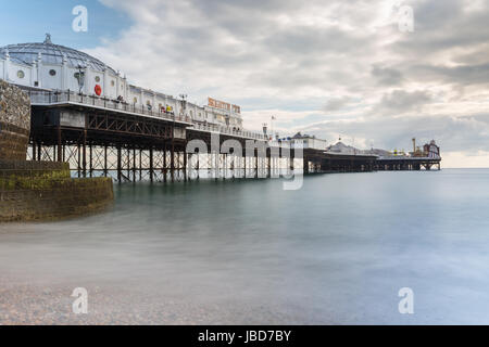 Brighton Palace Pier, Victorian Pleasure Pier in Brighton, England, UK - Stock Photo
