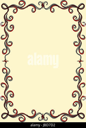 frame with red and black swirls on a light background - Stock Photo