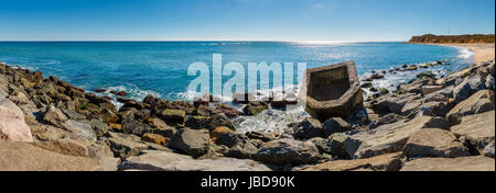 Panoramic view of Montauk Point State Park beach and the Atlantic Ocean. Long Island, New York State - Stock Photo