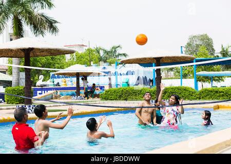 Swimming pool with indian family