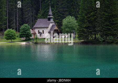 Church at Lago di Braies, Dolomites, Italy. - Stock Photo