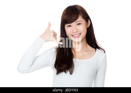 Asia woman making a call me gesture - Stock Photo
