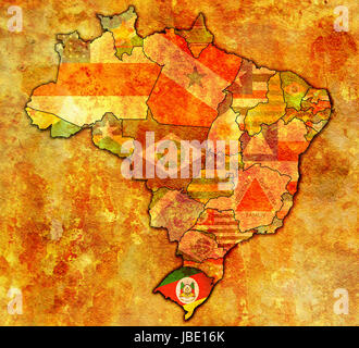 rio grande do sul on admistration map of brazil with flags - Stock Photo