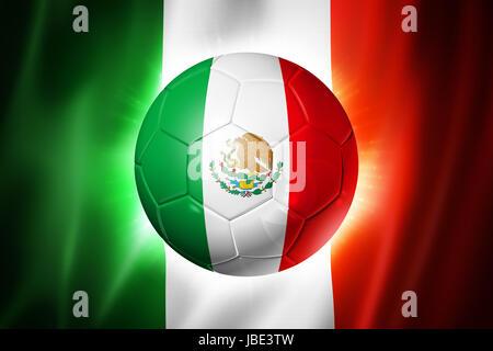 3D soccer ball with Mexico team flag, world football cup Brazil 2014 - Stock Photo