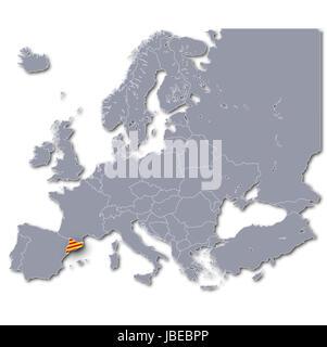 europe map catalonia - Stock Photo