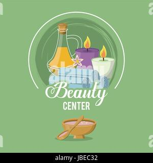 colorful logo of beauty center with set of bottle essence and candles and towels - Stock Photo