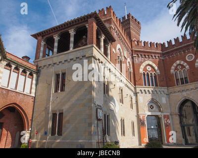 GENOA, ITALY - MARCH 16, 2014: Castello d Albertis gothic revival castle in Genoa Italy - Stock Photo