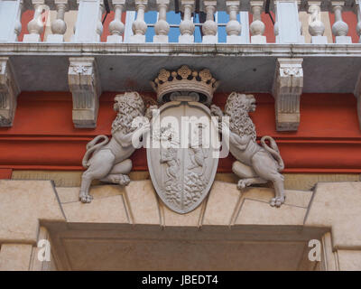 GENOA, ITALY - MARCH 16, 2014: The coat of arms on Palazzo Rosso historical palace hosting the picture gallery - Stock Photo