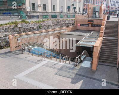 GENOA, ITALY - MARCH 16, 2014: The new San Giorgio tube station - Stock Photo