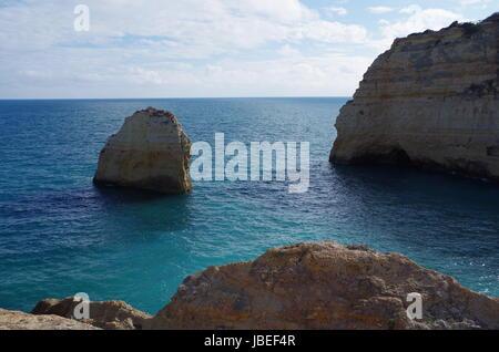 Carvalho beach in Carvoeiro, Lagoa. Famous travel destination in Algarve, Portugal - Stock Photo