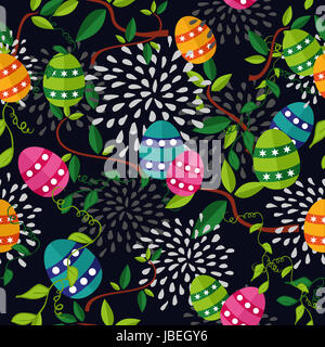 Cute colorful Easter seamless pattern with flowers and colors eggs on black background. EPS10 vector file organized - Stock Photo