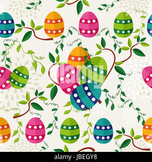 Cute colorful Easter seamless pattern with flowers and colors eggs. EPS10 vector file organized in layers for easy - Stock Photo