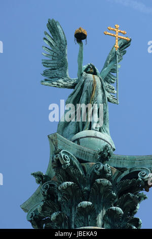 Hungary. Budapest.Millennium Monument on Heroes Square. Archangel Gabriel on a column - Stock Photo