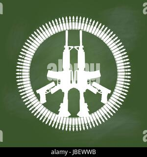 Gun and bullet in peace symbol on Green board. Peace, Abstract concept for no war. vector illustration. - Stock Photo