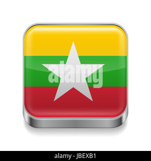 Metal square icon with flag colors of Myanmar - Stock Photo