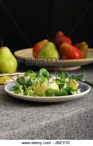 pears and cheese salad - Stock Photo