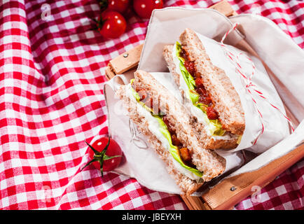 Delicious savory salad sandwiches served on a red and white checked tablecloth for a healthy outdoors summer picnic, - Stock Photo