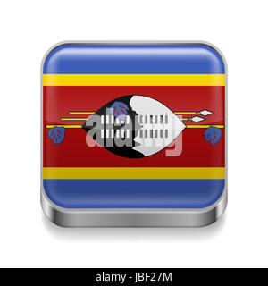 Metal square icon with flag colors of Swaziland - Stock Photo