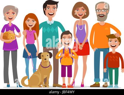 Big Happy Family Group Of People Parents And Children Concept Cartoon Vector Illustration