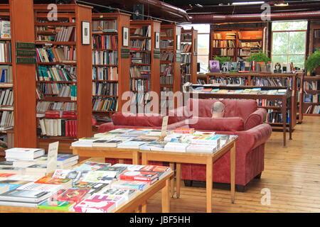Richard Booth's Bookshop, Lion Street, Hay-on-Wye, Brecknockshire, Powys, Wales, Great Britain, United Kingdom, - Stock Photo