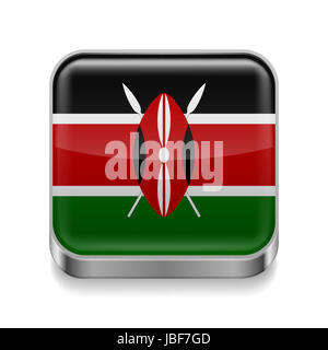 Metal square icon with Kenyan flag colors - Stock Photo