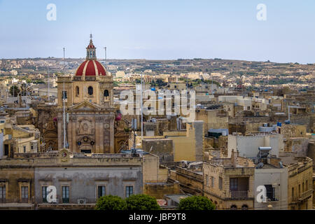 Victoria city with Saint George Basilica view from the citadel - Victoria, Gozo, Malta - Stock Photo