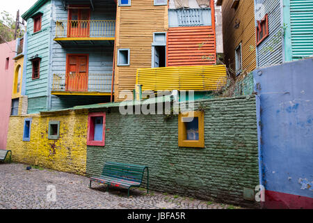 La Boca's Colorful Houses in Buenos Aires, Argentina - Stock Photo