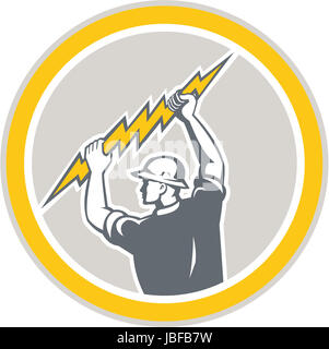 Construction worker electrician lightning bolt Stock Photo