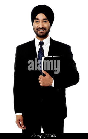 Handsome business executive over white - Stock Photo
