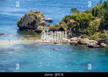 View of Isola Bella island and beach - Taormina, Sicily, Italy - Stock Photo