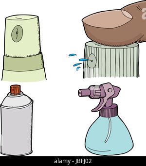 Various spray bottles and spray cans on white background - Stock Photo