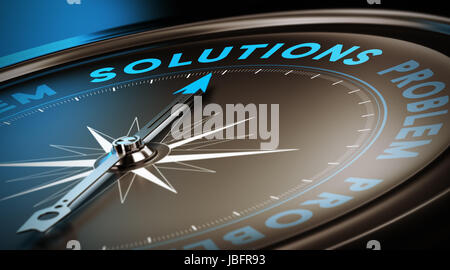 Compass needle pointing the word solutions. Dark brown, blue and black background with focus on the main word. Concept - Stock Photo