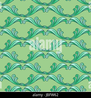 Abstract green background with ornate floral elements - Stock Photo
