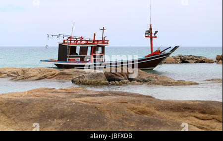 Fishing boat in Thailand on Koh Samui at Chaweng Beach - Stock Photo