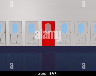 Red door between white doors, 3d render - Stock Photo