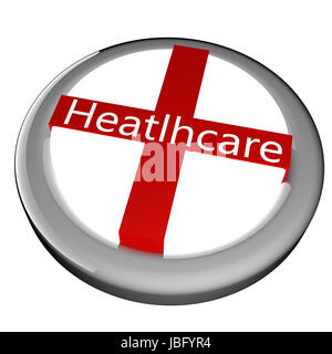 Red crossed button with text 'Healthcare', 3d render, isolated over white - Stock Photo