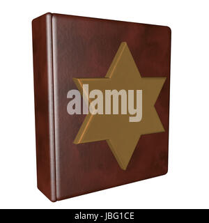 Leather book with golden Star of David, isolated over white, 3d render - Stock Photo