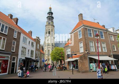 MIDDELBURG, THE NETHERLANDS - APRIL 12, 2014:  Center and Lange Jan tower in Middelburg, capital of Zeeland province, - Stock Photo